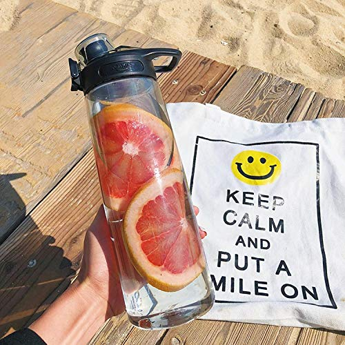 Jusemao Gran capacidad simple y fresca taza de agua de plástico portátil que acompaña Fitness deportes botella 750ml Bpa Free-Classic black_750ml