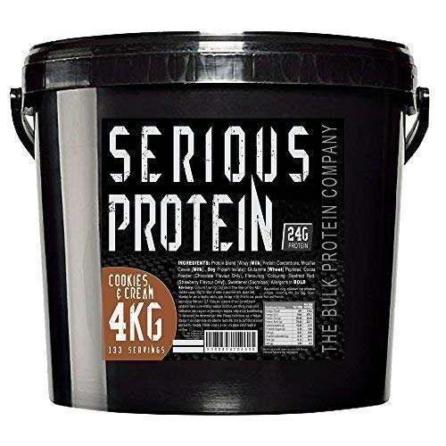 The Bulk Protein Company - SERIOUS PROTEIN 4kg - Low Carb Lean Protein Powder 24g Per Serving - Cookies & Cream Flavour