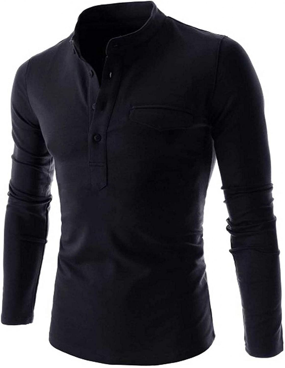 FUNEY Long Sleeve Button Up Henley Shirts for Men Cotton Casual Slim Fit Lightweight V Neck Solid Color Pullover Tshirts