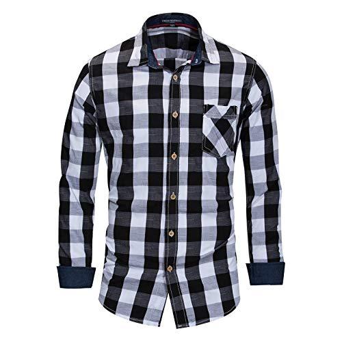 Hombre Solapa Camisa de Manga Larga Moda Talla Grande Clásico A Cuadros Estampado Costuras Al Aire Libre Suelto Cómodo Moda Casual Ropa Cotidiana XXL