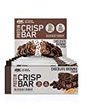 Optimum Nutrition ON Protein Crisp Bar barritas proteínas con whey protein isolate, dulces altas en proteína y low carb, chocolate brownie, 10 barras (10 x 65 g)