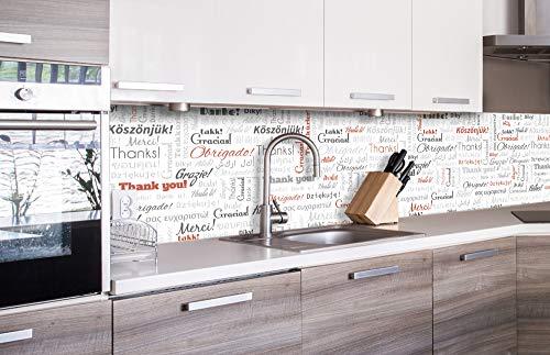 DIMEX LINE Küchenrückwand Folie selbstklebend Danke | Klebefolie - Dekofolie - Spritzschutz für Küche | Premium QUALITÄT - Made in EU | 260 cm x 60 cm