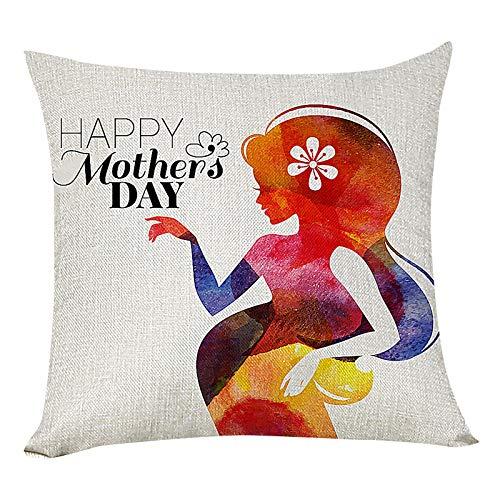 Funda de almohada para el día de la madre, 45,7 x 45,7 cm, cuadradas, fundas de cojín para sofá, decoración del hogar (multicolor)