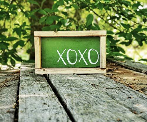 Ced454sy XOXO houten ingelijst boerderij teken Kleine hout Teken xoxo decor mini liefdesbord knuffels kussen Groen Houten Teken Rustiek Decor