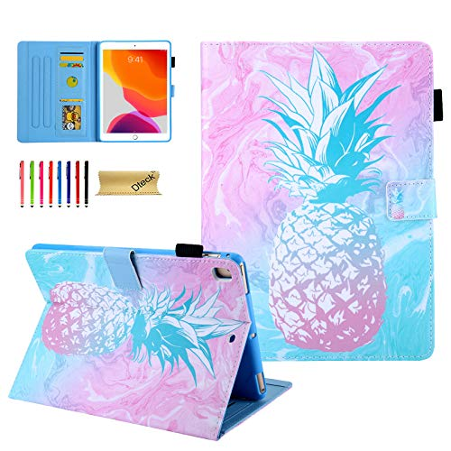 Dteck iPad 10.2 Case 8th/7th Generation 2020/2019, Premium PU Leather Smart Folio Stand Full Protective Cover with Auto Wake/Sleep and Multiple Viewing Angles - Pink Pineapple