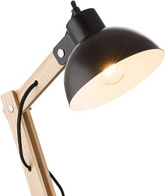 Flexible en bois et métal noir pour ampoule LED E27 max. 40 W, hauteur 45 cm.