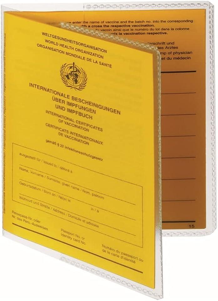 Schutzhülle für aktuellen Internationalen Impfpass 93mm x 130mm Umschlaghülle - Impfausweis - Reisepass - Made in Germany - Kartenfach - Impfbuch Hülle Etui