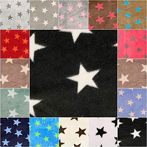 DIE NÄHZWERGE Superflausch Sterne, in 15 Farbkombinationen - Meterware ab 50cm | Wellness-Fleece Softplüsch Microfleece – Stars, Weihnachten, Ganzjahres-Stoff (Fond: schwarz, Sterne: weiß)