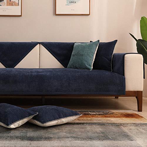 Hybad Funda Sofa Chaise Longue,Funda de sofá de Tela Fina,Fundas Antideslizantes de 4 Estaciones para sofá de Cuero,Protector de sofá de Chenilla,Toalla de cojín de sofá-Navy_110 * 160cm