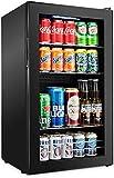 126 Can Beverage Refrigerator | Freestanding Ultra Cool Mini Drink Fridge | Beer, Cocktails, Soda, Juice Cooler for Home & Office | Reversible Glass Door & Adjustable Shelving - Black