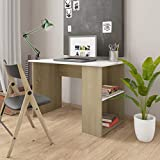 WooDlan Mesa de Despacho | Mesa de Oficina | Escritorio pequeño | Escritorio con 2 estantes Blanco y Roble Sonoma, 110x60x73 cm
