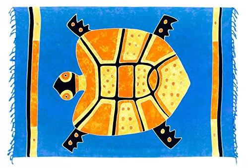 Kascha Sarong Pareo Dhoti Lunghi ca. 170cm x 110cm Blau Orange Gelb Batik mit Schildkröte Motiv Handgefertigt und Kokosnuss Schnalle im Runden Design