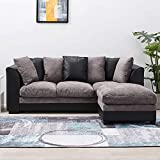 Wellgarden Faux Leather and Fabric 3 <span class='highlight'>Seater</span> <span class='highlight'>Sofa</span> Corner Group <span class='highlight'>Sofa</span> with Footstool L Shaped <span class='highlight'>Sofa</span> <span class='highlight'>Set</span>tee Left or Right Chaise Couch, Grey and Black (3 <span class='highlight'>Seater</span> with Footstool)