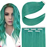 Easyouth Color Teal Tape in Real Hair Extensions Human Hair Tape in Remy Hair Extensions Double Sided Tape Extensions for Party 22 Inch 25g