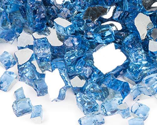 GASPRO 4,5 kg Feuerstelle, reflektierendes blaues Feuerglas für Propangas-Feuerstelle, Kamin, 1,27 cm gehärtetes Pacific Blue Fireglass