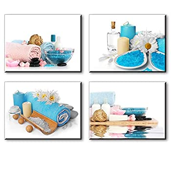 SPA Wall Art for Bathroom Modern Blue Candle and Towels Pictures Canvas Prints Decor  Waterproof Artwork Bracket Mounted Ready to Hang
