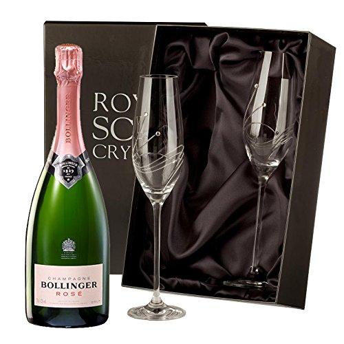 Bollinger Rose Champagner mit Swarovski Crystal Flutes