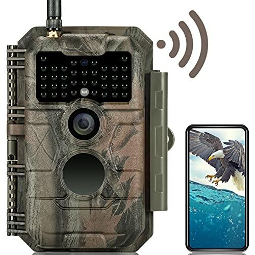 GardePro E6 Wildkamera WLAN Bluetooth Antenne 24MP 1296P mit Bewegungsmelder Nachtsicht No Glow Infrarot 940nm LEDs IP66 Wasserdicht H.264 Video, 110 ° Weitwinkelsicht, WiFi handyübertragung