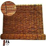 GeYao - Estor enrollable de bambú para cortinas de caña natural, cortina de paja tejida a mano, antirayos UV, impermeable/parasol, con elevador, para exteriores/interiores, tamaños personalizados