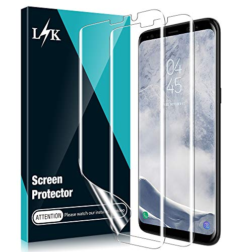 [3 Pack] L K Screen Protector for Samsung Galaxy S8, [Self Healing] [Full Coverage] [Case Friendly] [Easy Install positioning tool] HD Effect Flexible Film