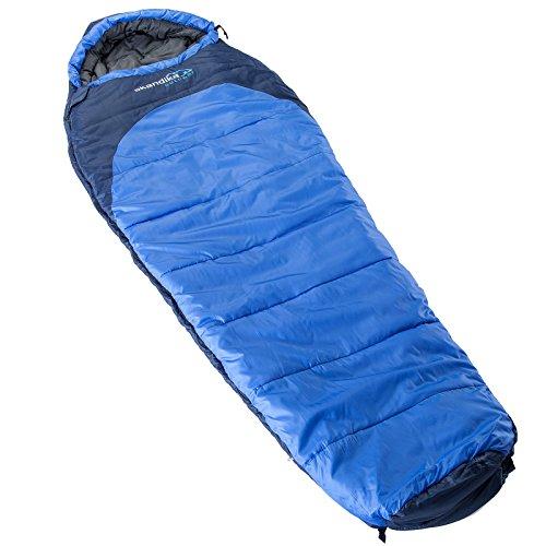 Skandika Highland Kältetauglicher Luxus Mumienschlafsack bis -27°C (blau/schwarz) (Rechts)