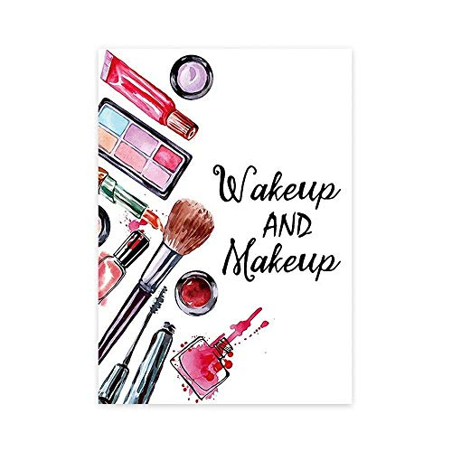 Cosmetica Aquarel Canvas Schilderij Lippenstift Oogschaduw Foundation Wake-up en make-up Poster Schoonheidsspijkerwinkel Wall Art Decor Foto 40x60cm