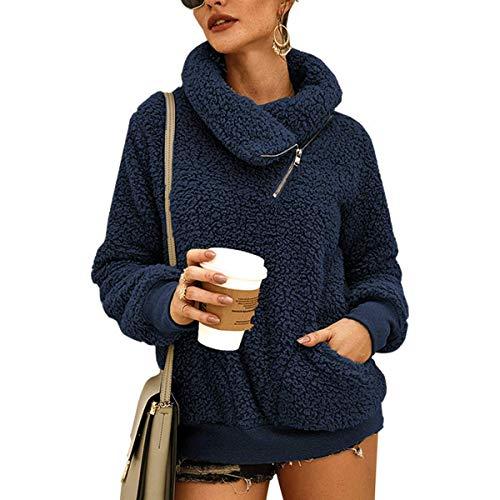 LIVACASA Sweatshirt Damen Winter Warm Hoodie Weich Mädchen Oversized Teddy Fleece Pullover Flauschig Winterpullover Sweater Langarm Pulli mit 2 Tasche Blau S