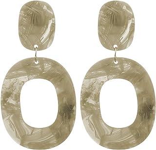 Women Girls Simple Retro Circle ear stud round Acrylic Earrings Hoop Geometric Dangle Ear Stud Pin Jewelry Accessories
