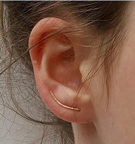 Gold Ear Climber - zierliche gehämmerte Ohr Crawler einfache minimalistische 14k Gold gefüllt Ohr Kletterer(Gold)