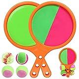 BroKids Catch Paddle Game Toy Set, Juegos Lanzamiento Pelota Velcro con 2 Raqueta y 4 Bolas, Catch Ball para Niños y Adulto, Bola Juguetes Adecuado para Deportes, Playa, Regalos de Cumpleaños