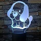 Poodle Bulldog Jack Russell Terrier Rottweiler Dobermann Lámpara LED 3D Luz de noche para niños Escritorio estilo perro Luz 3d