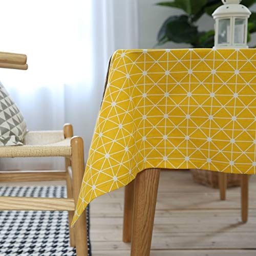 Epinki Mantel Geometría Triángulo Cuadrado Tablero de Ajedrez Amarillo Blanco Mantel Ropa de algodón para la Decoración de la Mesa de Comedor de Cocina Tamaño 140x140CM
