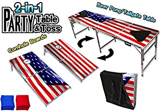 PartyPongTables.com 2-in-1 Cornhole Boards Game Set (2' x 4') & Beer Pong Tailgate Table (2' x 8') - USA Edition