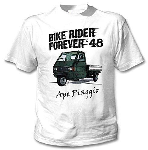 TEESANDENGINES Ape Piaggio Green Rider Forever Tshirt di Cotone da Uomo Bianca Size Large