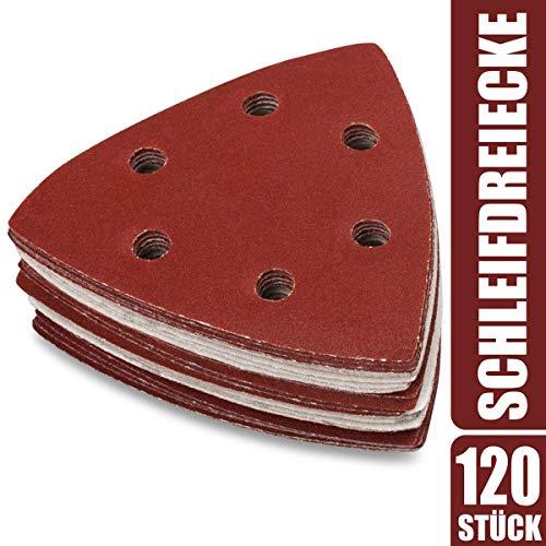 120 x Deltaschleifer Dreieck Schleifpapier 93x93x93mm - Klett Schleifdreiecke für Dreieckschleifer 40-240 Körnung