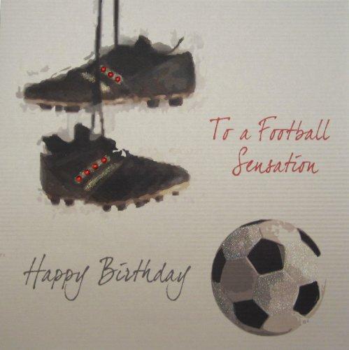 WHITE COTTON CARDS 1 Stück auf einem Fußball Sensation, Motiv Happy Birthday, Extra groß, handgemacht, Footbal und Stiefel