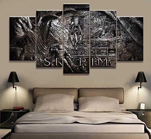 IDzf Wohnkultur Modulare Leinwand Bild 5 Stück Elder Scrolls Skyrim Spiel Malerei Poster Wand Für Zuhause Leinwand Malerei