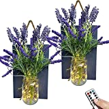 9CH Mason Jar Wall Sconces Decor - Rustic Wall Sconce with Remote Control LED Fairy Lights and Lavender, Farmhouse Kitchen Decorations Home Living Room Decor Gift (Set of 2)