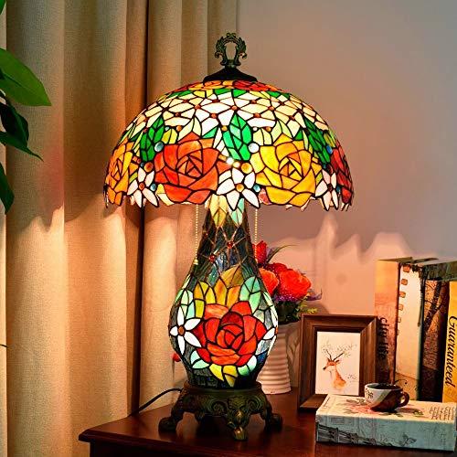 KK Timo Rose Flower Garden Lámpara De Mesa Retro Noble Y Solemne Sala De Estar Comedor Dormitorio Iluminación De Vidrio Hecha A Mano