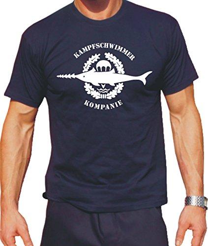 Feuer1 T-shirt Navy avec emblème de la bouée de combat Blanc M bleu marine
