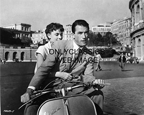 OnlyClassics Vespa Motor Scooter Motorcycle Photo Audrey Hepburn Gregory PECK Roman Holiday