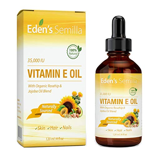 100% Plant Extract Vitamin E Oil 35,000 IU + Organic Rosehip & Jojoba Blend - 4 OZ Bottle. Fast Absorbing Skin Protection for Face & Body. Pure Ingredients - Ideal for Sensitive Skin - Use Daily