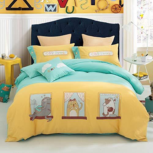 Yaonuli dekbedovertrek, voor studenten, van katoen, vier stripes, voor kinderen