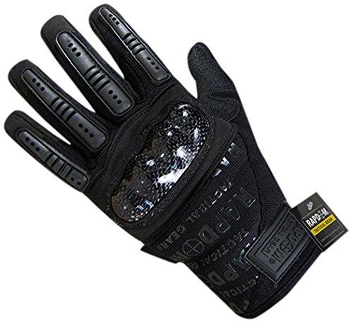 RAPDOM Tactical Carbon Fiber Combat Gloves, Black, Large