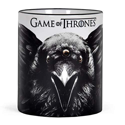 Elbenwald Game of Thrones Tasse mit Mystic Crow dreiäugiger Rabe Rundumdruck Keramik 320 ml schwarz weiß