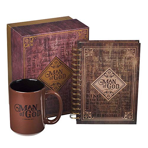 Man of God with Names of God Brown Notebook Journal and Coffee Mug Gift Set for Men Inspirational Scripture from 1...