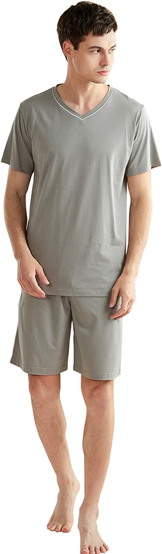 YAOMEI Mens Pyjamas Set Short Cotton, Mens Short Sleeves Nighties PJ Set Sleepwear Nightwear