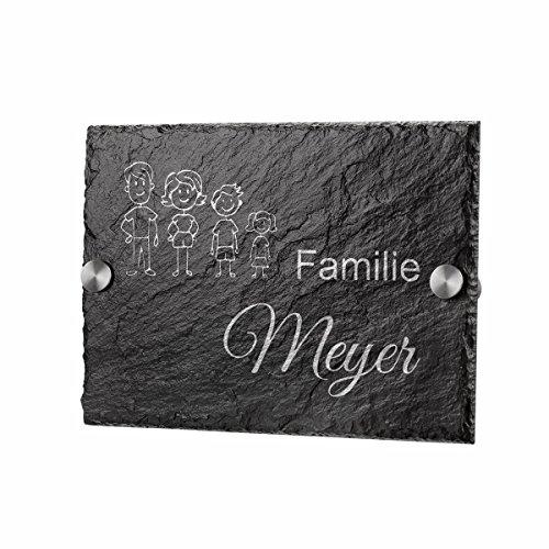 polar-effekt Schiefertafel Personalisiertes Türschild - Geschenk für Ehepaare und Familien zum Einzug - Namensschild Schieferplatte 20x14cm mit Gravur - Motiv Strichmännchen Familie