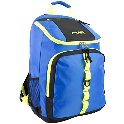 Fuel Top Load Sport Backpack with Side Tech Compartment and Ergonomic Padded Mesh Breathable Back, Royal Blue with Yellow/Black Trim