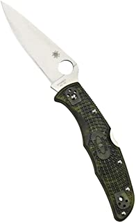 Spyderco Endura 4 Folding Knife - Zome Green FRN Handle with PlainEdge, Full-Flat Grind, VG-10 Steel Blade and Back Lock - C10ZFPGR